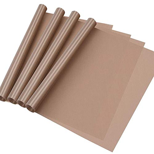 "Selizo 4 Pack Teflon Sheet for Heat Press, Non-Stick Craft Mat, Teflon Heat Transfer Press Sheet for T Shirt Press Machine (12"" x 16"")"