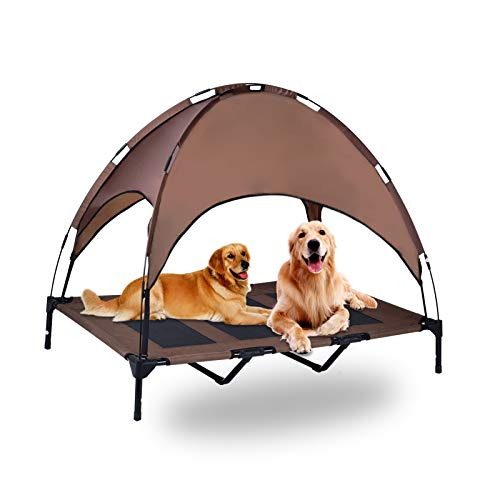 OLSAGO Elevated Pet Cot with CanopyPortable Raised Pet Cot for Camping or BeachRemovable CanopyDurable 1680D Oxford Fabric Raised Mesh Cot Cooling Outdoor Dog BedCarrying BagLargeCoffee Brown