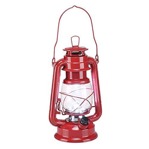 LED Sturmlaterne rot aus Metall mit 15 LEDs - Batterie betrieben - Camping Laterne Garten Lampe Leuchte dimmbar