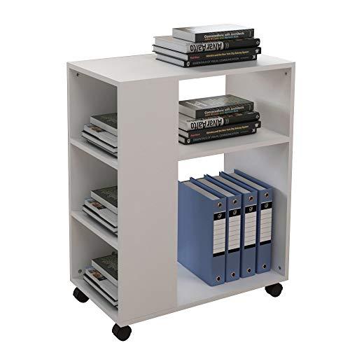 soges Druckertisch Druckerständer Beistellwagen Bürowagen Beistelltisch Druckerhalter mit Rollen aus Holzwerkstoffen mit 5 Regalen für Aufbewahrung,60x34x70CM
