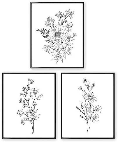 Black and White Prints Botanical Wall Art Prints UNFRAMED 8x10 Aesthetic Poster for Bedroom product image