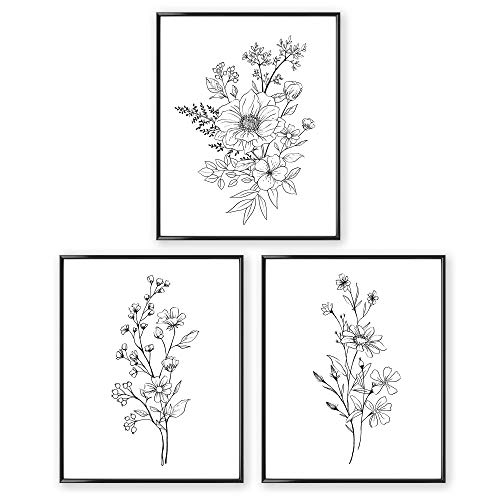 Black and White Prints, Botanical Wall Art Prints UNFRAMED (8x10), Aesthetic Poster for Bedroom, Flower Drawing, 3 Set Farmhouse Wall Decor, Floral Living Room Posters, Boho Wall Decor