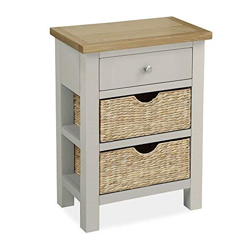 Roseland Furniture Ltd Farrow Grey Painted Telephone Table with Baskets - Hallway Table