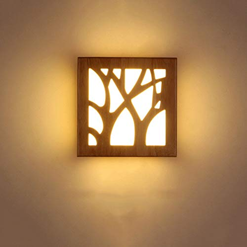 Style Japonais Logs en bois massif Led lampe de chevet Nordic Minimaliste Salon Balcon Aisle acrylique Applique murale lumière décorative (Couleur: branche d'arbre) midiao (Color : Forest)