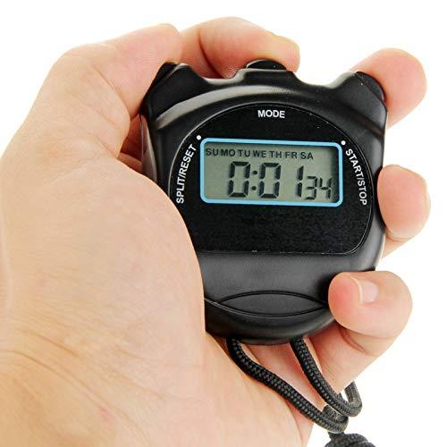 JSANSUI Countdown-Stoppuhr-Timer Stoppuhr Profi Chronograph Handdigital LCD Sport Zähler Timer mit Gurt