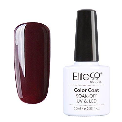 Elite99 Vernis A Ongles Semi Permanent Gel UV ou LED Soak Off Manucure Serie Bordeaux 10ml 008
