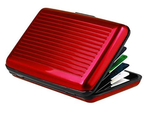 Tarjetero de aluminio con protección RFID, en color rojo, monedero para tarjetas de visita, tarjetero, para hombre, cartera, para mujer, de aluminio, 11,5 x 7,2 cm