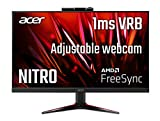 Acer Nitro VG240Y Dbmipcx 23.8' Full HD (1920 x 1080) IPS Zero-Frame AMD FreeSync Gaming Monitor with Full HD Adjustable Webcam, 1ms (VRB), 75Hz, (1 x Display Port, 1 x HDMI & 1 x VGA Ports)
