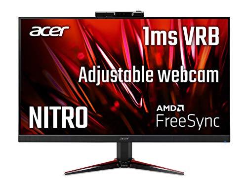 "Acer Nitro VG240Y Dbmipcx 23.8"" Full HD (1920 x 1080) IPS Zero-Frame AMD FreeSync Gaming Monitor with Full HD Adjustable Webcam, 1ms (VRB), 75Hz, (1 x Display Port, 1 x HDMI & 1 x VGA Ports)"