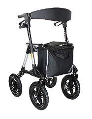 TABAS Rollator opvouwbaar en lichtgewicht I Rollator met stoel als Premium Outdoor Rollator met luchtbanden incl. afsluitbare tas & loopstokhouder met gemonteerde achterband & hoogte verstelbaar*