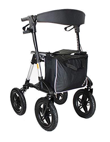 TABAS Rollator faltbar und leicht I Rollator mit Sitzfläche als Premium Outdoor Rollator mit Luftbereifung inkl. verschließbarer Tasche & Gehstockhalter mit montiertem Rückengurt & Höhenverstellbar