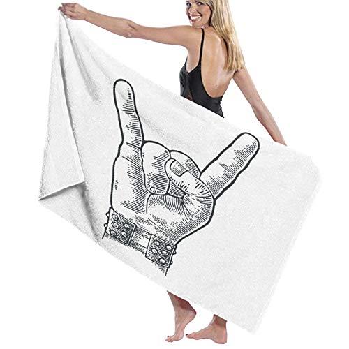 Grande Suave Toalla de Baño Manta,Pulsera con Pinchos de Metal con Signo de Mano de Rock and Roll Que le da al Diablo Gesto de Cuernos,Hoja de Baño Toalla de Playa Viaje Nadando,52' x 32'