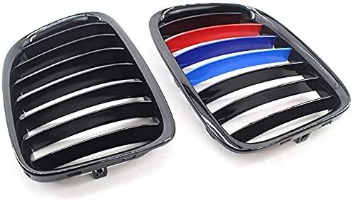 SXPENG Rejilla Delantera del Coche, paraE84 X1 Negro Brillante M-Color Kidney Sport Grill SUV 10-15 13 ParachoquesDelanteroRadiador Accesorios De Coche