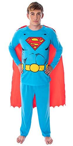 DC Comics Men's Superman Classic Superhero Costume Raglan Shirt And Pants Pajama Set with Detachable Cape (SM)