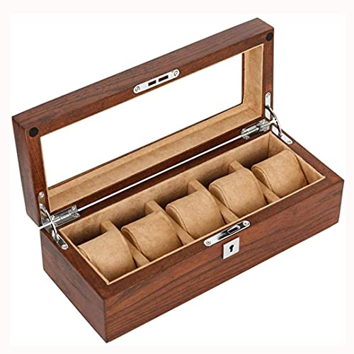 SMOOTHLY Caja de Reloj, Madera, Caja de joyería, Caja Decorativa, Caja de Relojes de 5 vías Hecho de Madera Maciza, Exquisito y Duradero