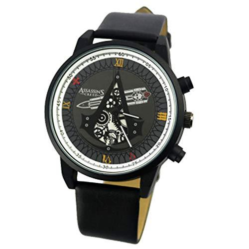 POMUTRE Hombre Relojes de Pulsera Assassins Creed Watch Pareja Relojes de Pulsera Relojes con Movimiento de Bandera Negra (Negro, Estilo B)