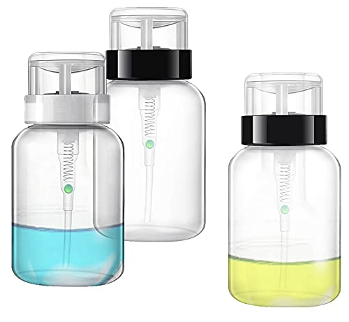 ASFINS Dispensador de Quitaesmaltes, 3 Piezas Dispensador Removedor Dispensador Bomba Quitaesmalte, para Maquillaje Rellenable, Botellas de Viaje, Loción Cosmética, Envases de Tóner Facial (200ML)
