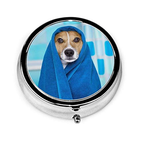 Portavivande rotondo da viaggio, con 3 scomparti compatti, per medicina portatile e vitamine, per tasche/borsello/esigenze quotidiane - carino cane