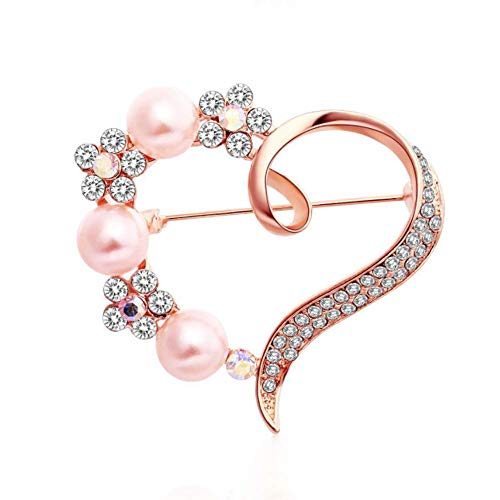 TULIP LY Heart Brooch for Women Cluster Pave Clear Crystal Love Heart Pearl Brooch Pin Wedding Party Clothes Accessories (White, Rose Gold)