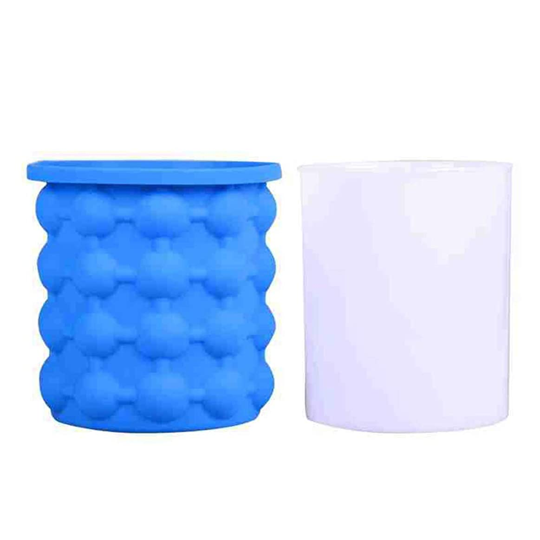 手綱対応するちょっと待って氷のバケツ、ふた付きの再利用可能なシリコンの氷のバケツ、40個の大きなアイスキューブをリリース、円形スペースを節約でき、冷蔵、カクテル、飲料のウイスキーに使用できます