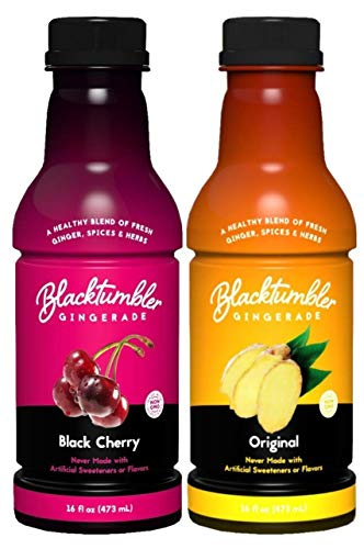 Blacktumbler Gingerade Non Carbonated Ginger Ale Drink 12 Pack Made with Pure Ginger Juice Real Herbs & Spices, Also a Great Mixer or Marinade (Black Cherry & Original)