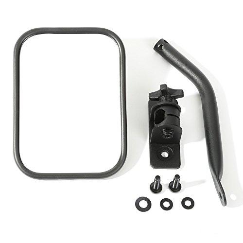 Rugged Ridge 11025.18 Quick Release Mirror, Rectangular, Textured Black; 97-18 Jeep Wrangler
