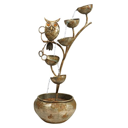 Water Fountain - Nearly 3 Foot Tall Whooo's Watching Owl Decor Metal Fountain - Outdoor Water Feature