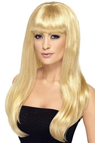 SMIFFYS Smiffy's, bionda, Parrucca attraente e sexy, lunga, liscia con frangetta Donna, Taglia unica, 42415