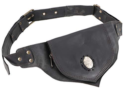 Guru-Shop Sidebag & Gürteltasche, Goa Tasche mit Halbedelstein - Schwarz, Herren/Damen, Leder, Size:One Size, 17x13x3 cm, Festival- Bauchtasche Hippie