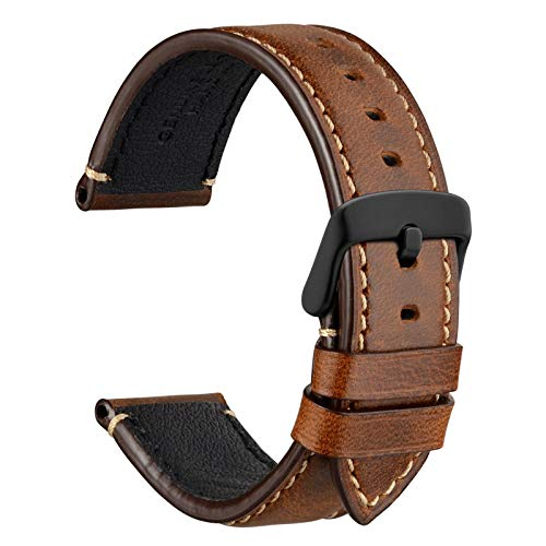 WOCCI 20mm Watch Band, Premium Saddle Style Vintage Leather Watch Strap with Black Buckle (Gold Brown)