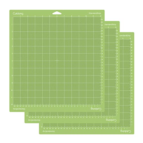 Cutdoing 12x12 Cutting Mat(3-Piece, Standardgrip)Perfect for Cricut Explore Air 2/Air/One/Maker-Durable Non-Slip Flexible Square Gridded Cut Mat Green Cutting Mats for Crafts