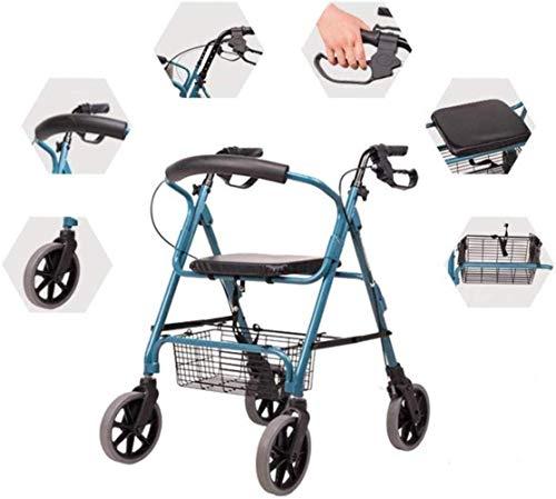 Standaard Walkers Walking Aid wandelstok 4 Wheel Rollator Walker Met Stoel, Vouw Verwijderbare Rugsteun Transport Rollator Walker Voor Ouderen Lopend Frames
