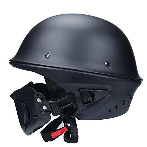 TONGDAUR Motorcycle Helm met losmaken Mask Multi Function Open Gezicht Motobike Helm for volwassenen Racing Ontwerp De Hoed (Color : 02BLACK)