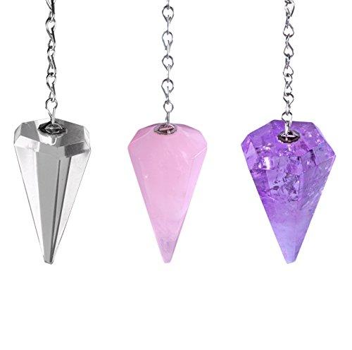 Set van 3 pendel facetgeslepen amethist + bergkristal + rozenkwarts