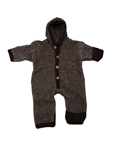 Cosilana Baby Fleece-Overall mit Kapuze, Kratzschutz kbT Wolle Bio Baumwolle (74-80, Braun-Melange)