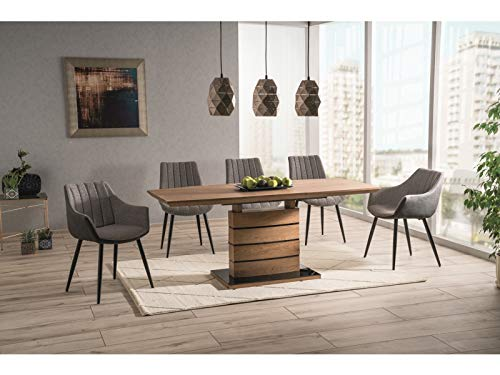 LUENRA ORUNIS II Extendable Dining Table (Extendable) for 6 People, 140 (180) x 80 x 76 cm, Wood MDF, Tempered Glass, Oak, Black