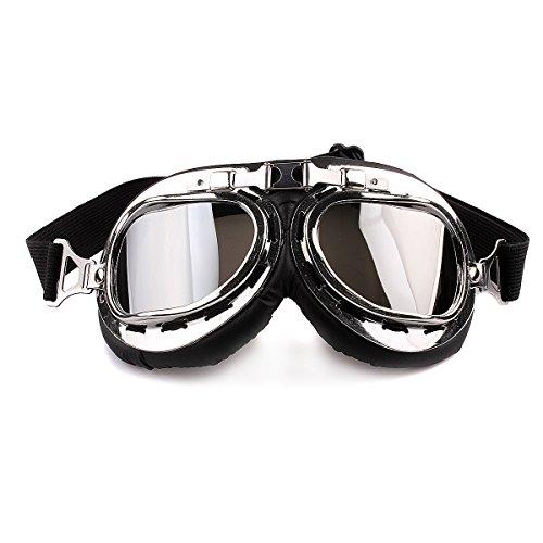 Butterme Motorrad Schutzbrille RAF Aviator Vintage Pilot Biker Cruiser Pilot Fliegerbrille Motocross Cruisers Windproof Sun UV Wind Eye Protect Helmmaske Eyewear Sport Schutzbrille