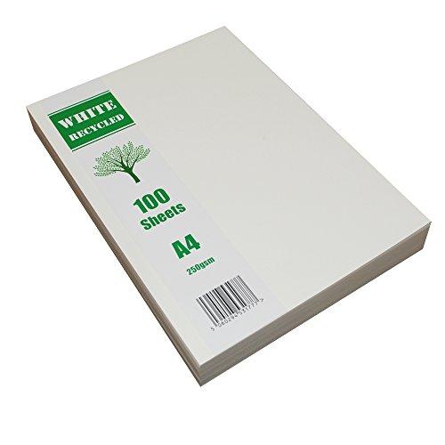 Craft UK 2255 - Cartoncini riciclati, formato A4, 250 g/mq, 100 fogli, colore: Bianco