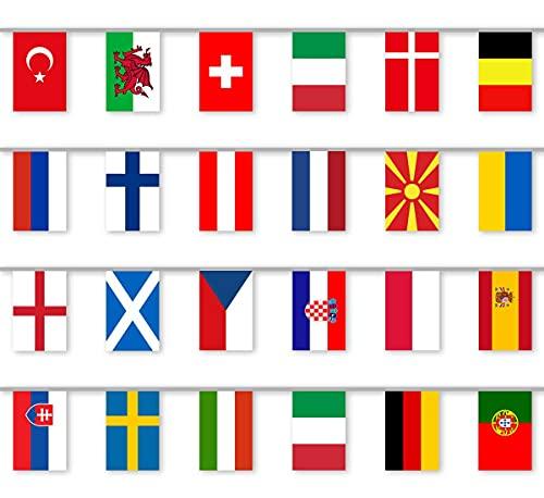 CoolChange Fahnenkette passend zur Fußball EM 2021   24 Länder Flaggen Girlande   10m Länge   Flaggengröße 28x20cm