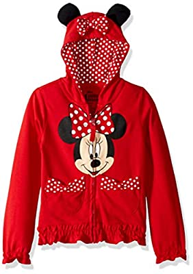 Disney FREEZE Little Girls' Minnie Polka Dot Bow Toddler Hoodie, Red, 3T