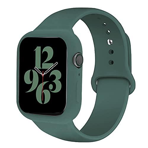 Compatible con Apple Watch SE 6 5 4 bandas, correa de repuesto de silicona suave con esfera protectora para iWatch Series 44 mm 40 mm para mujeres y hombres