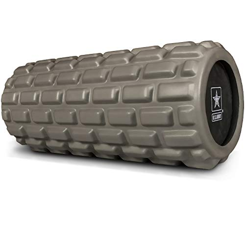 US Army Foam Roller  Deep Tissue Massage Roller for Trigger Point Release on Muscles  Dark Green