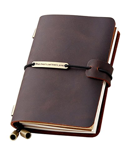 Refillable Handmade Travelers Notebook, Leather Travel Journal Notebook for Men & Women, Perfect for Writing, Gifts, Travelers, Small Size 5.2' x 4' Inches - Coffee