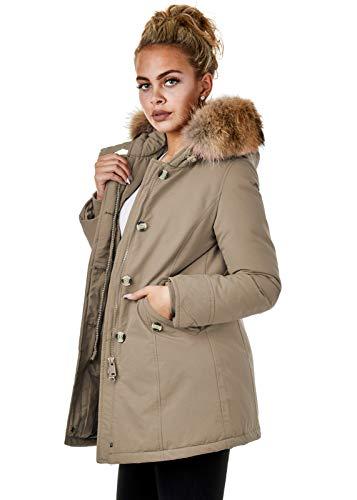 Burocs EFW27 Damen Jacke Parka Mantel Winterjacke Echtfell Kapuze Warm Gefüttert Waschbar Schwarz Navy Khaki Rot, Größe:XS, Farbe:Beige