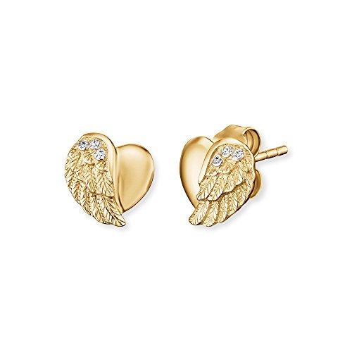 Engelsrufer Herzflügel Ohrstecker für Damen Gelbvergoldet 925er-Sterlingsilber Größe 9 mm