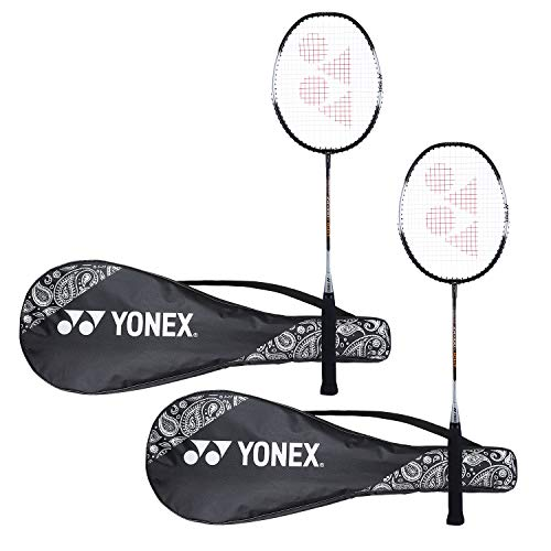 Yonex ZR 100 Light Aluminium Blend Badminton Racquet with Full Cover, Set of 2 (Black/Black)