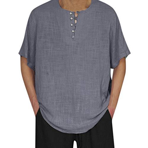 Overdose Lino De Los Hombres Color Sólido Manga Corta Camisetas Retro Tops Blusa Holgada Camisetas Hombres Boda Verano Fiesta Vestir