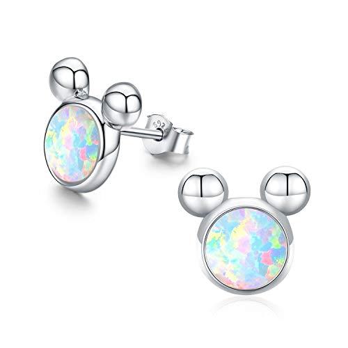 Maus Ohrringe Opal Ohrringe für Kinder Erwachsene Damen Maus Earbob Schmuck Sterling Silber Maus Stud M Maus Ohrstecker für Frauen Mädchen(Silber Maus Ohrringe)