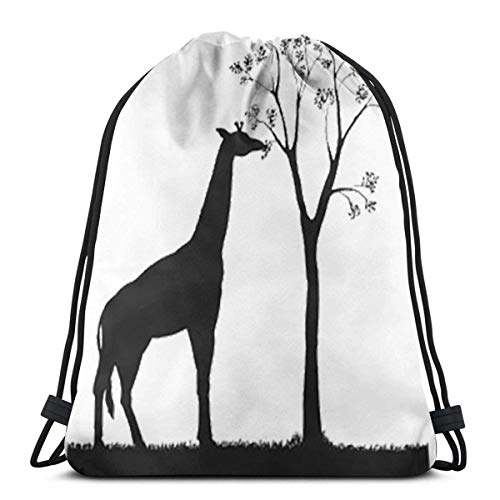 BFGTH sac de cordon Giraffe Drawstring Bags Gym Bag Gymsack Backpack Sport Sackpack,for Hiking Team Swimming Training Yoga Gym Outdoor Exercise
