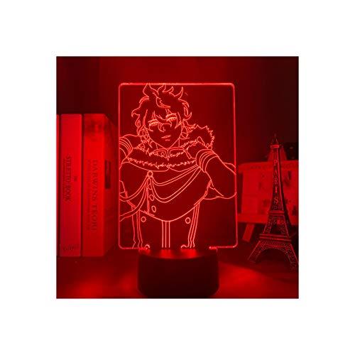TIDRT Lámpara De Mesa USB 3D Anime Black Clover Xiongye Lámpara para Niños Decoración De Dormitorio para Niña Luz De Noche Led Regalo De Cumpleaños